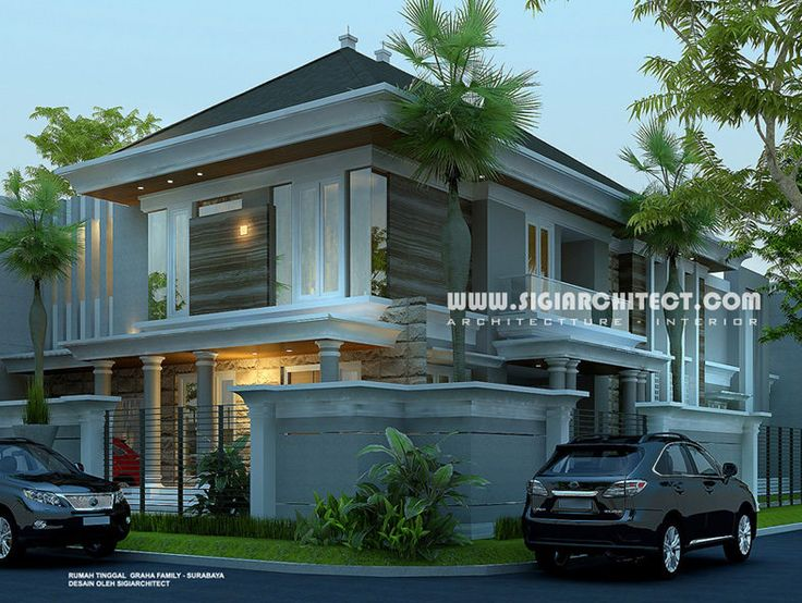 Desain Rumah 2 Lantai Modern Klasik Mediteran dengan Kolam Renang_Rumah Pojok/ Hook, lahan 20 X 35 M2, Gsb 6/5.5 meter landskap taman, 5 + 1 kamar tidur