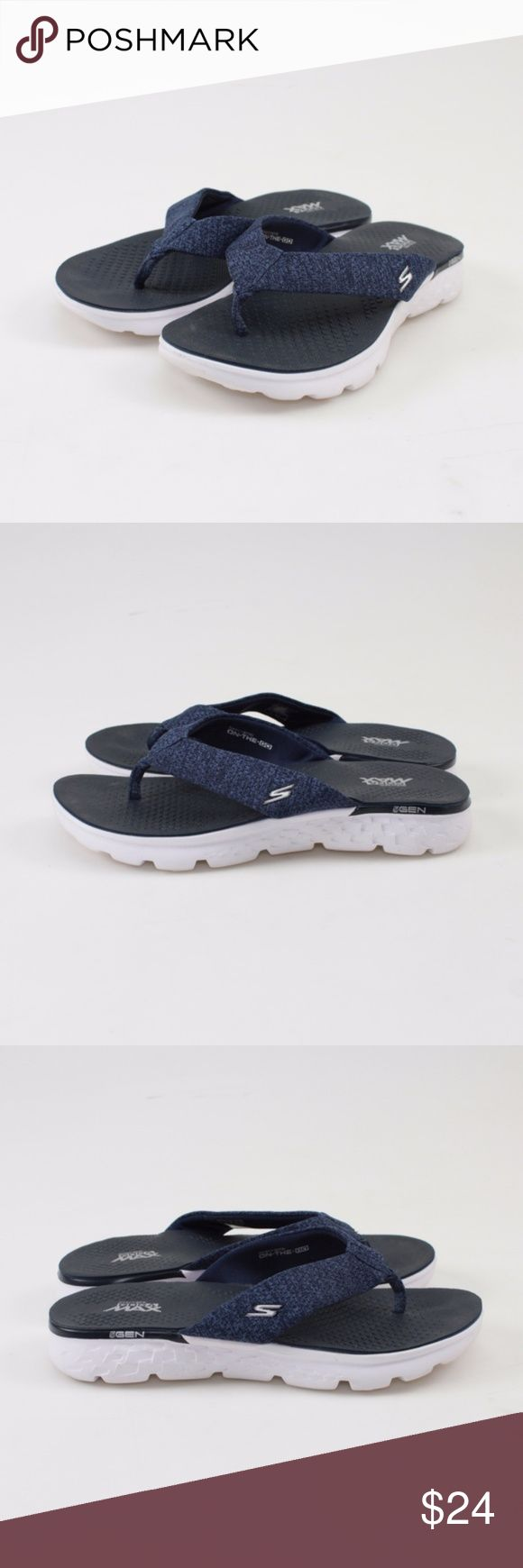 Skechers Navy On the GO 400 Vivacity Sandal // 8 Advanced technology combines with comfort and style! Shock-absorption and support GOimpulse sensors for responsive traction and ground feel Fabric upper & lining  These shoes were a store return, but are still in great condition. Only wear on the sole from being tried out. Photos show all details, so please look over thoroughly.  These still come in their original box! #15WK24 // Skechers // Sandals // Flip Flops // Navy White Skechers Shoes…