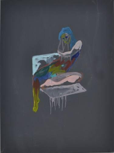 "Saatchi Art Artist Martin Sjardijn; Painting, ""Sitting nude on grey"" #art"