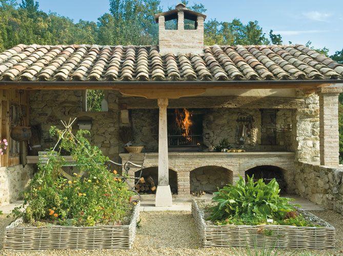 A summer kitchen to enjoy the Mediterranean weather with a herb garden close at hand...