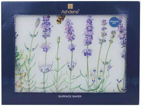 Lavender Flowers Glass Cutting Chopping Board from Sarah J Home Decor. $17.95
