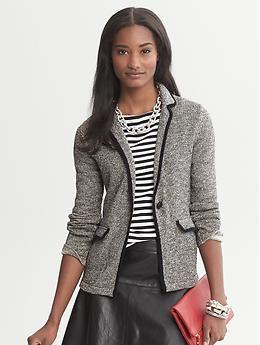 Metallic Sweater Blazer- love a sweater blazer. The best of both worlds!