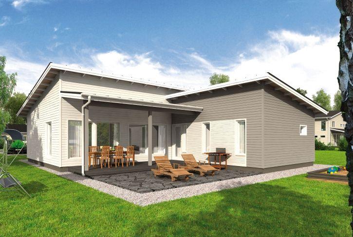 L-mallinen ja tehokas – Timo: 138 m², 4 makuuhuonetta, 1-kerroksinen talomalli