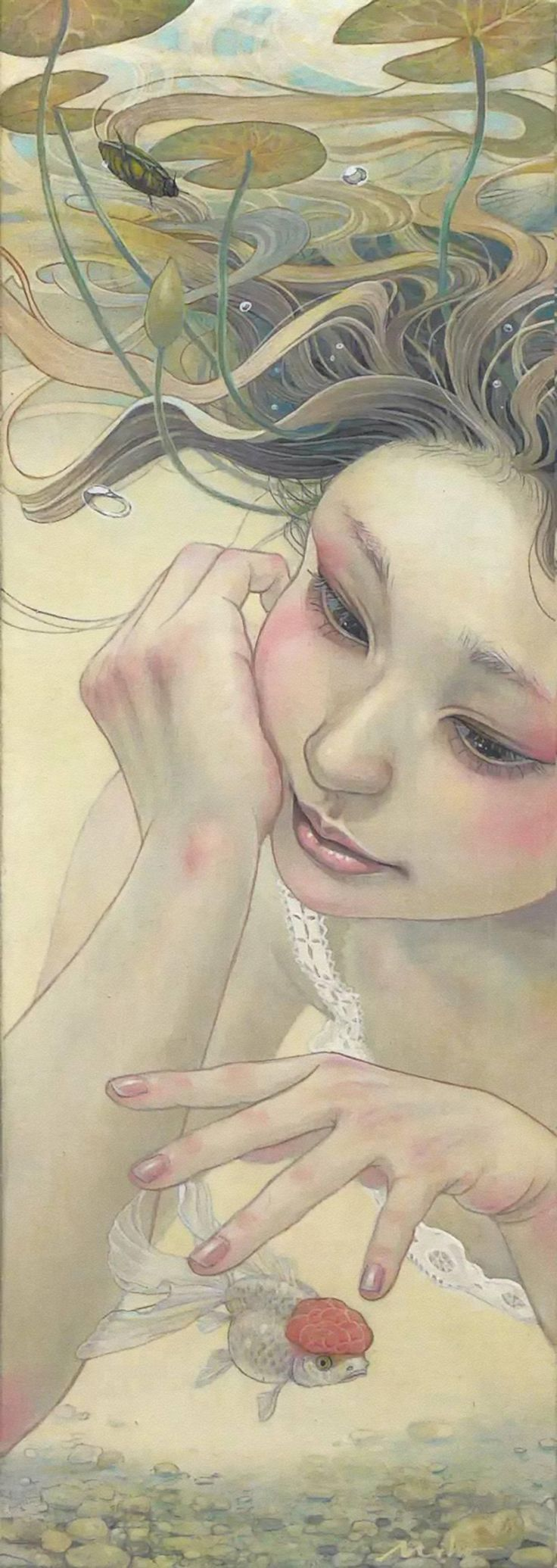 """Heart of Water"" - Miho Hirano 平野実穂, watercolor {beautiful female head hands underwater woman face portrait painting}"