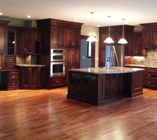 Dark Stained Kitchen Cabinets: Kitchen Cabinets Cabinet Color/floor Color