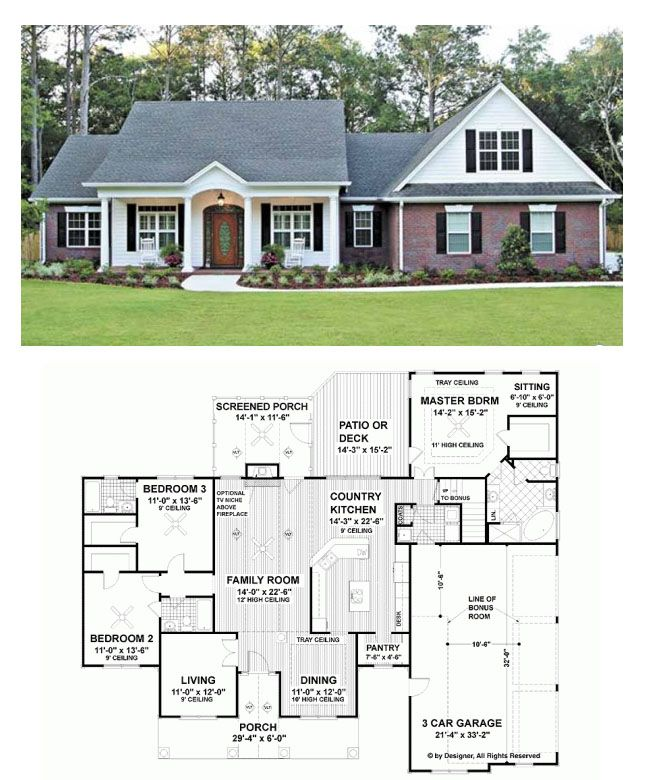 Layout of outside not the style just the footprint for Ranch style house plans with bonus room