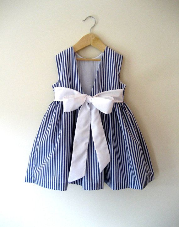 Etsy Transaction - Girls Pippa Dress. Nautical striped occasion dress to order in ages 3, 4, 5, 6, 7 & 8.