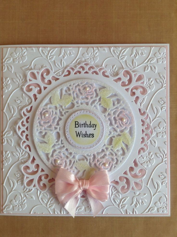 Card made using Sue Wilson's dies and embossing folder