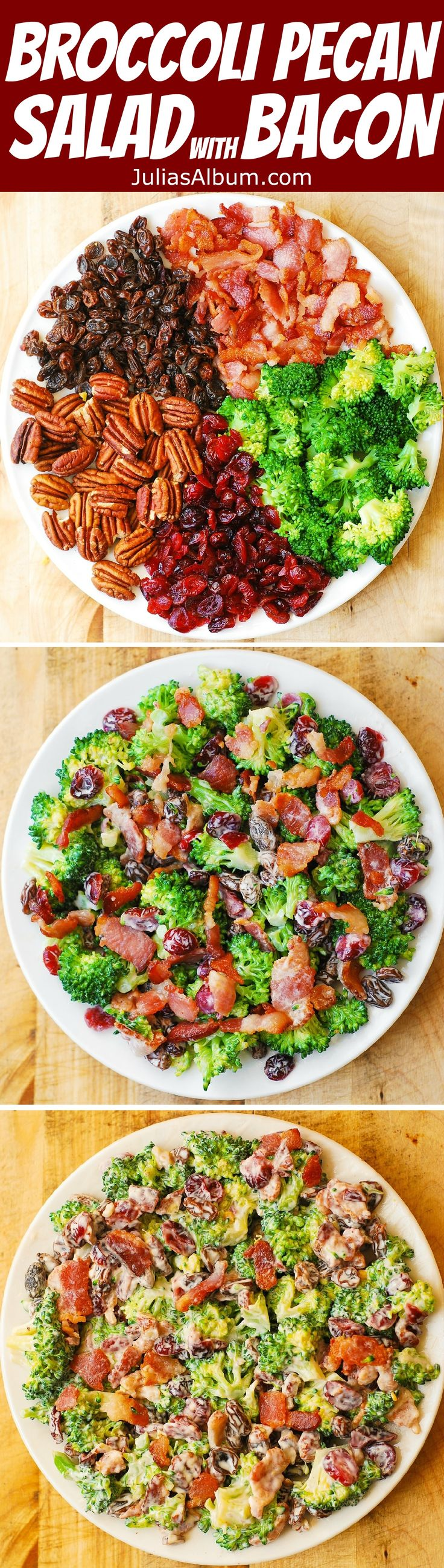 Broccoli Salad with Pecans, Cranberries, Raisins, and Bacon - healthy, DELICIOUS, gluten free salad, packed with fiber!