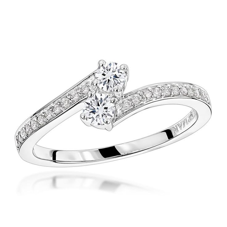 Love and Friendship 14K Gold 2 Stone Diamond Ladies Ring by Luxurman 0.35ct