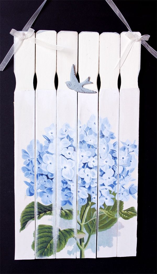 beautiful painted paint sticks --blue hydrangea and swift