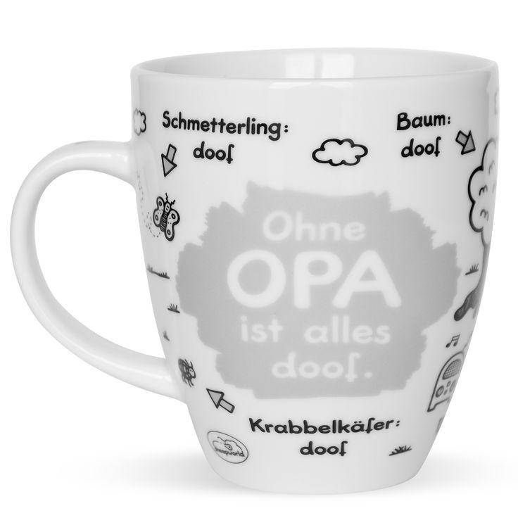 """Eine ganz besondere Tasse für einen ganz besonderen Menschen, Deinen Opa. Die """"Ohne Dich ist alles doof.""""-Tassen - die Klassiker unter den sheepworld Tassen - sind nun im brandneuen Design für die ganze Familie - Mama, Papa, Oma, Opa, Schwester, Bruder, Onkel, Tante und Schatz erhältlich. Eine geniale Geschenkidee!"""