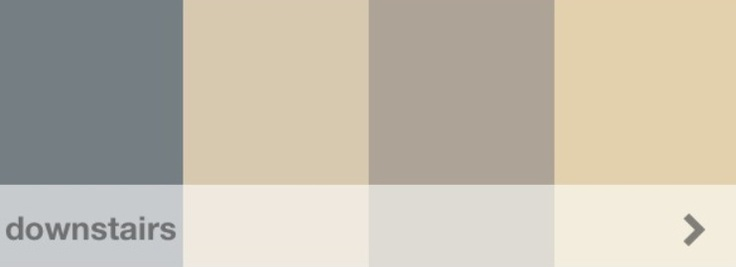 Downstairs paint decided.  L to R, and all Sherwin-Williams: Foggy Day (light flooded, maple wood stainless appliances and limestone countertops in kitchen), Kilm Beige (hallways and great room), Mega Greige (dining room), Ivoire (light flooded office)