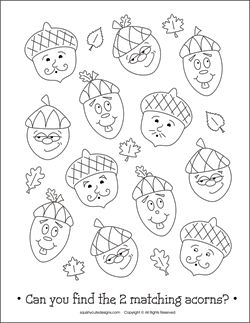 Free Thanksgiving coloring pages - acorn coloring pages - printable kids activities - fall coloring sheets