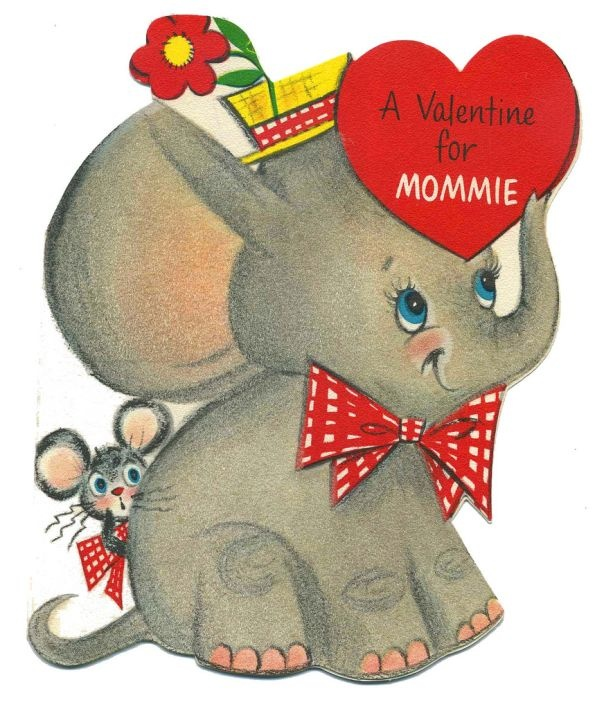 106 best Vintage Elephant Cards images – Elephant Valentines Card