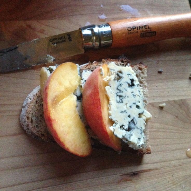 Blue cheese and peach tartine..