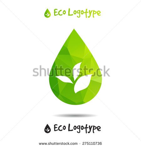 Vector ecology logo or icon in eps, nature logotype, drop icon - stock vector