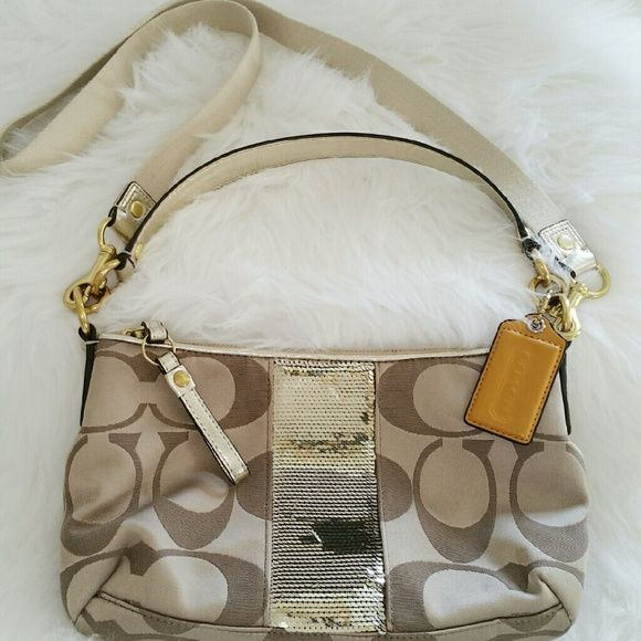 """SALE Authentic Coach Golden Bag Awesome Authentic Coach Tan with Gold Sequins Bag Like New  11"""" W x 7 """" H Inside Pocket and Shoulder Strap Coach Bags"""