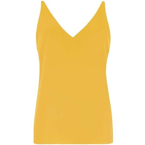 Dorothy Perkins Orange Deep V-Neck Cami Top ($21) ❤ liked on Polyvore featuring tops, orange, polyester camisole, yellow cami top, camisole tops, cami top and deep v neck top