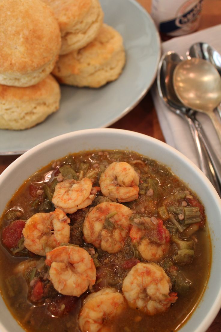 Shrimp And Okra Gumbo:  Most gumbos start with a roux. Others, like this one, use okra as a thickening agent. This gumbo is as rich, thick, and full flavored as a gumbo should be.