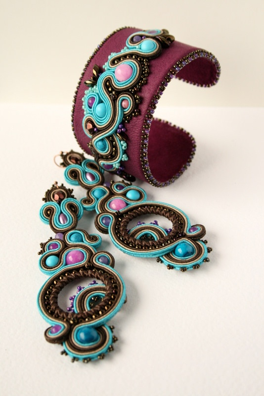 Soutache earrings and cuff.
