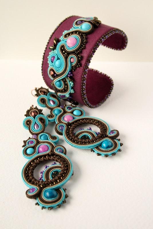 Soutache earrings and cuff.#soutache