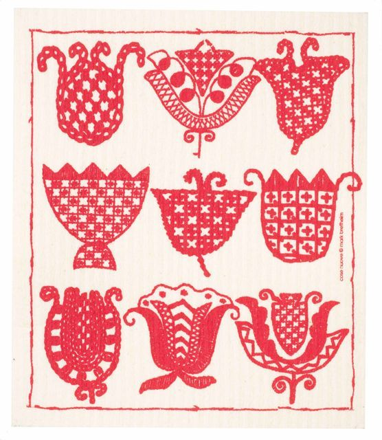 Red Tulips Swedish Dishcloth, by scandinavian stitches