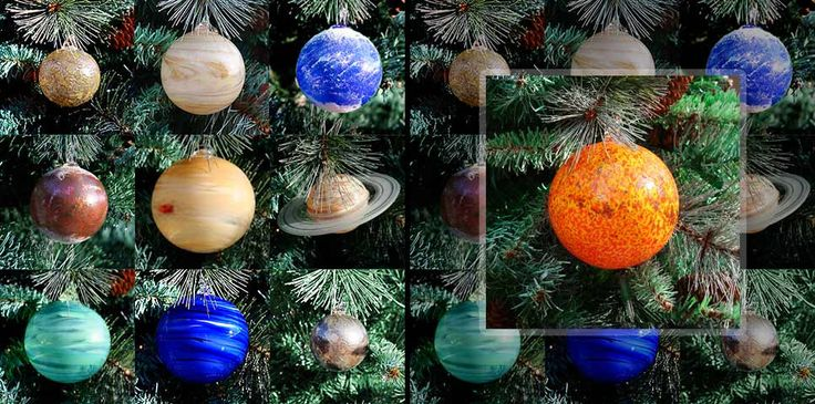 Solar System Hand Blown Glass Ornaments Set of 10 Great for Christmas