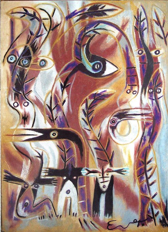 El monte 74 cm x 50 cm mixta-Papel 2005 3.000€  #arte #art #cuban #EverFonseca
