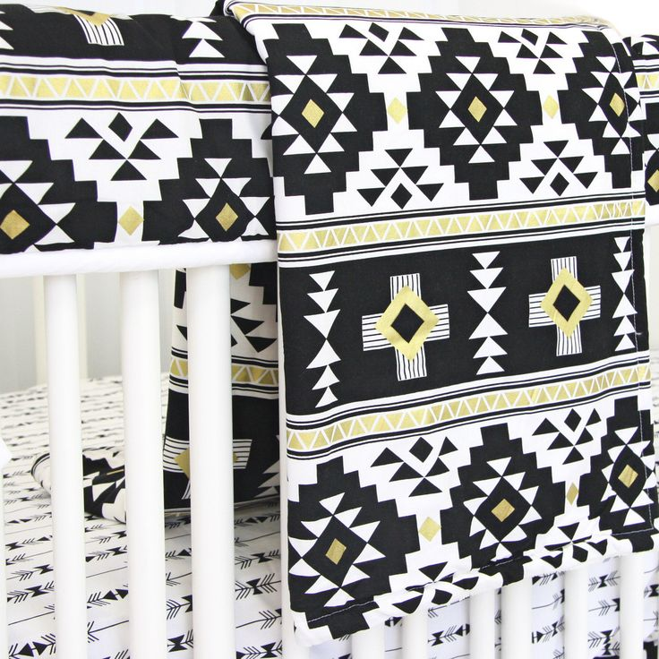 Baby Blanket - Black and Gold Aztec