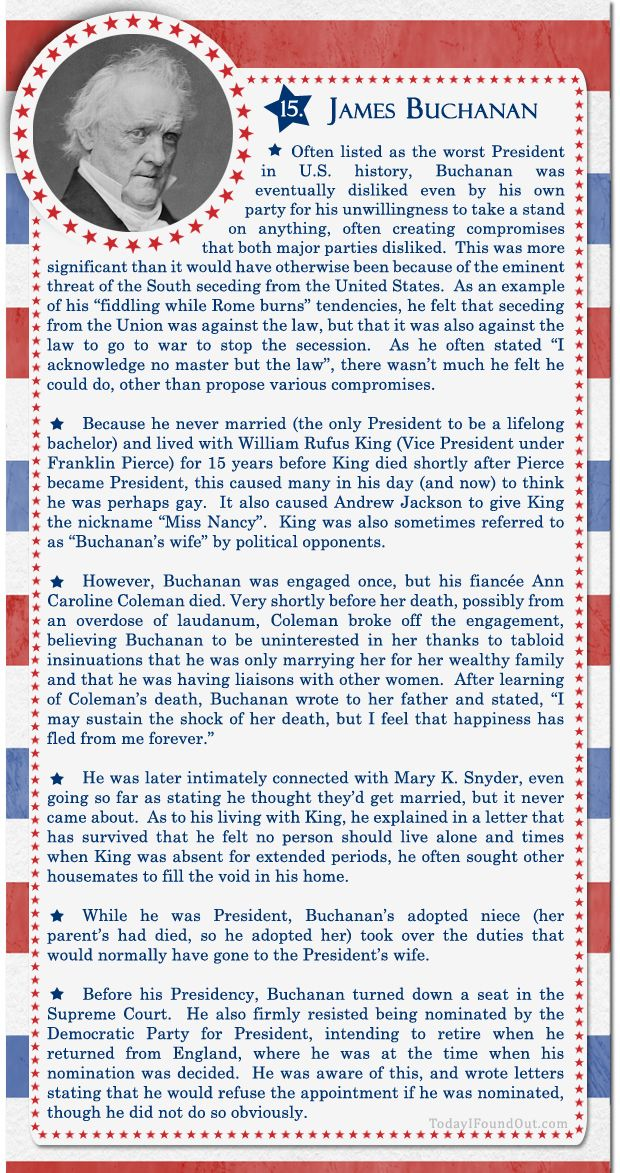 100+ Facts About US Presidents 15- James Buchanan