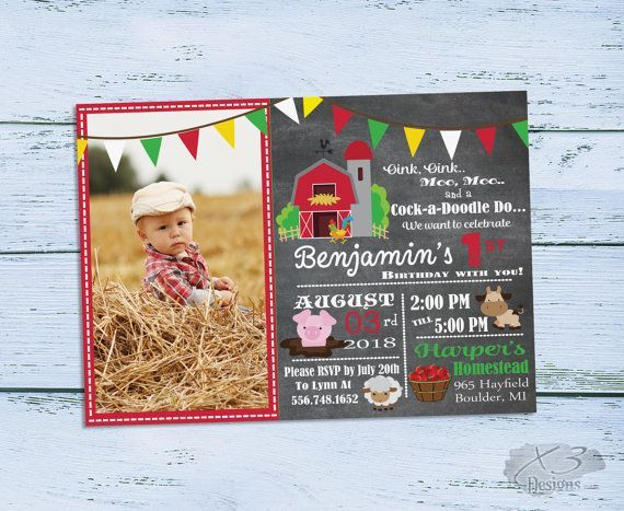 Printable Barnyard Birthday Invitations, Photo 1st Birthday Invitations, Farm Birthday Party Invitation, Boy First Birthday Invites by X3designs