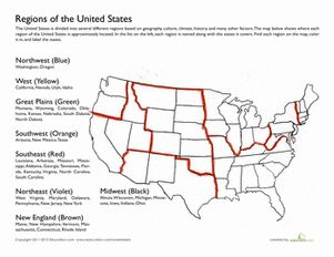 Fourth Grade Geography Worksheets: Regions of the United States