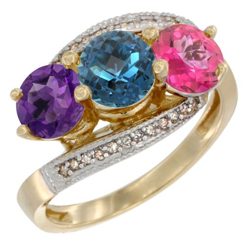 London Blue Topaz 3-Stone Rings - 14K Yellow GOld Diamond Jewelry - Affor Price: Contact Us