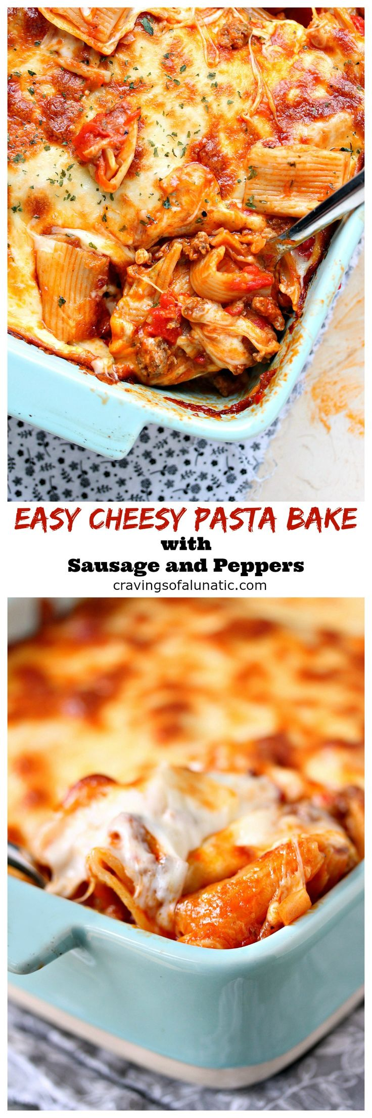 This Easy Cheesy Pasta Bake with Sausage and Peppers is the perfect simple recipe for busy nights. Easy to make, impossible to resist! #sponsored #cheese #pasta #dinner