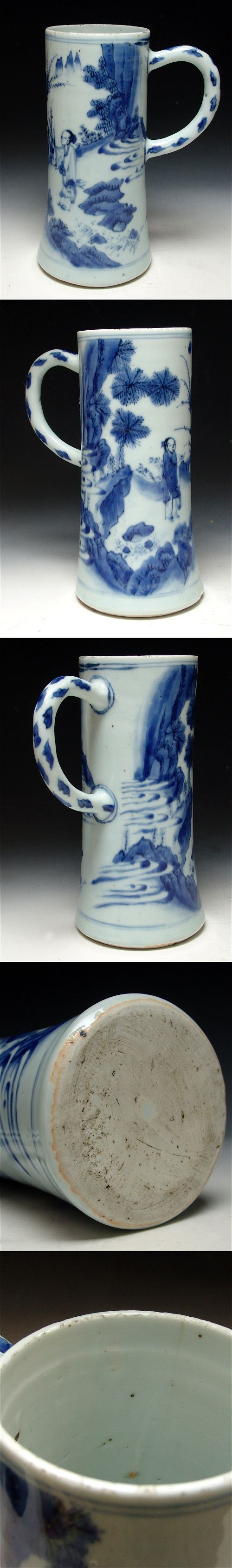 Tankard of slender shape in underglaze Blue and White decoration.  Antique Chinese Porcelain, Ming porcelain.