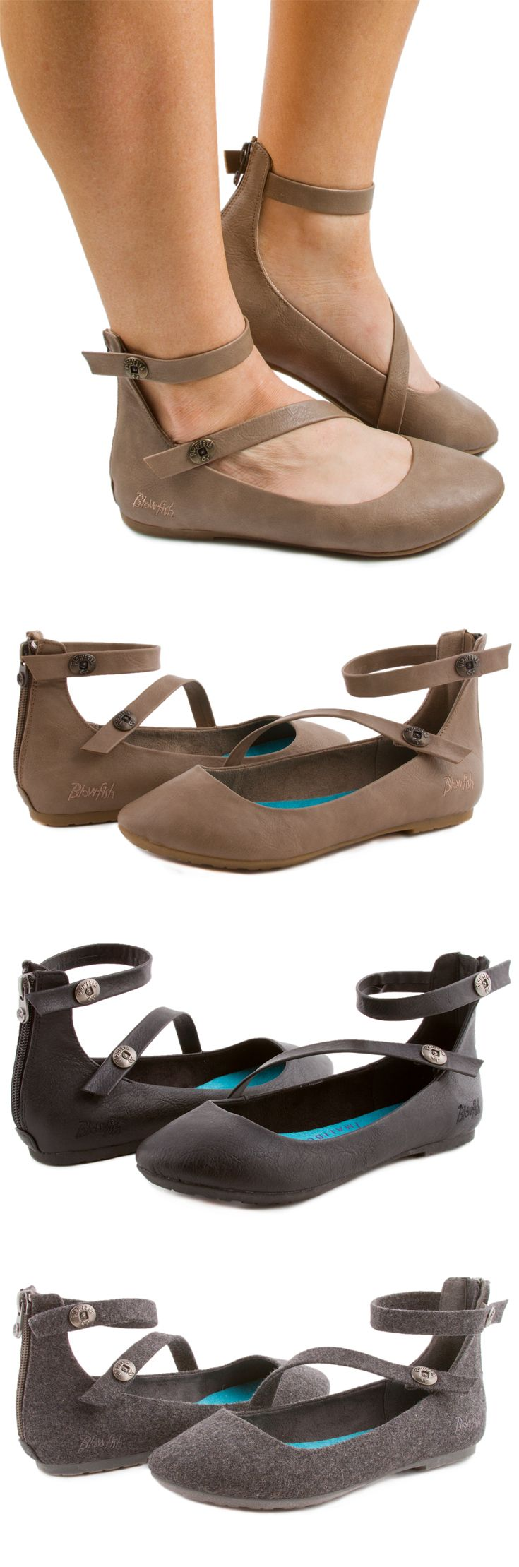 Need a great classic flat with a twist for your fall wardrobe? Blowfish Shoes Ranton flat is exactly what you need. This style features a round toe, ankle strap, and a decorative asymmetrical strap that extends from the ankle over the vamp towards the toe. This is a versatile flat with a slightly cushioned footbed that you can wear for work and play!