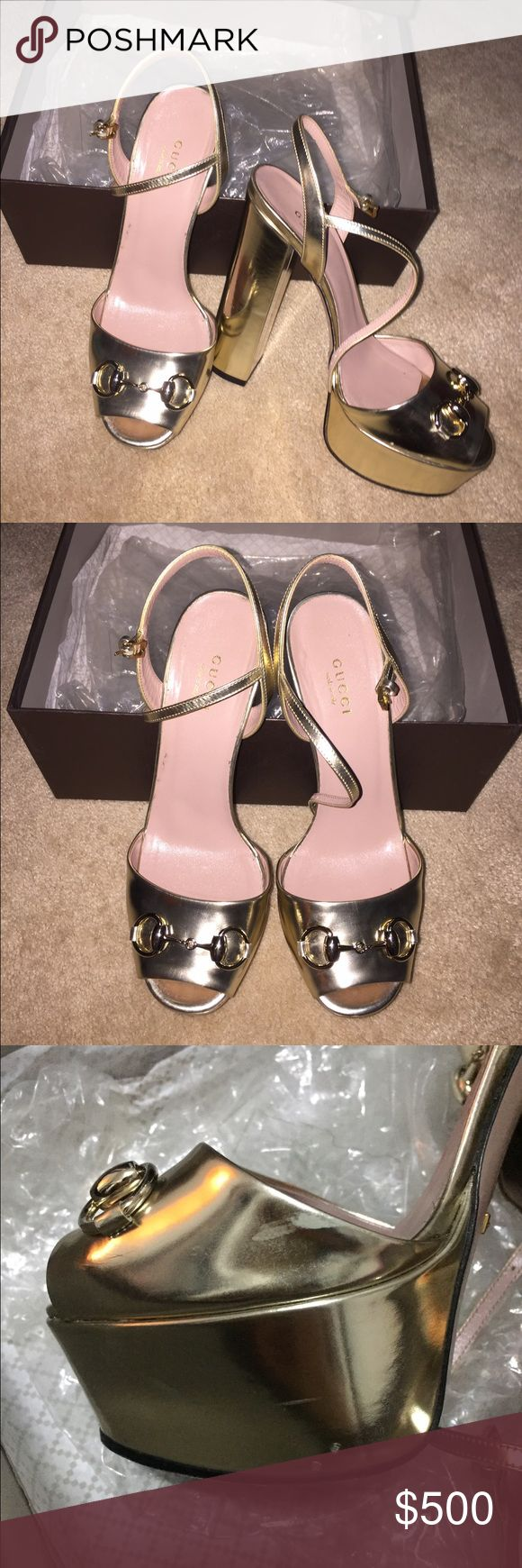 Gucci Heels Amazing heels, worn only once. One of them have tiny scratches, but that's normals with this type of skin, cause in store almost all the brand new unworn pairs had already scratches. Box, dustbag. Contact me prior to purchase, I'm not in US now, we can do ️️ too. Gucci Shoes Heels