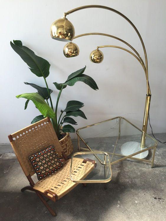 Vintage brass arc orb floor lamp —