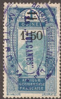 """French Guinea 1927 1.50fr on 1fr deep blue & light blue """"Ford at Kitim""""  The cancel is a Ship cancel for the """"Vulcanus"""", from the Holland West Africa Line, that used to have shipping lanes in West Africa."""