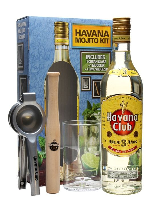An excellent Mojito gift set from Havana Club containing one bottle of their 3 yerar old rum, a cuban glass tumbler, a muddler and a lime squeezer.  So everything you need to make the perfect mojit...