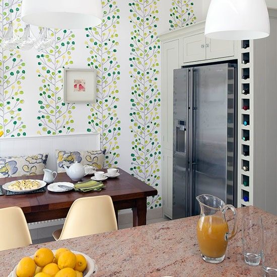 Kitchen diner with green feature wallpaper kitchen for Wallpapered kitchen ideas
