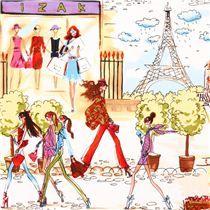 Laminado superior chica ciudad torre Eiffel Robert Kaufman