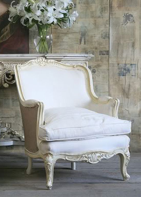 Captivating Shabby Chic Rustic Antique French Country Chair   Newspaper Wall Paper In  The Background.