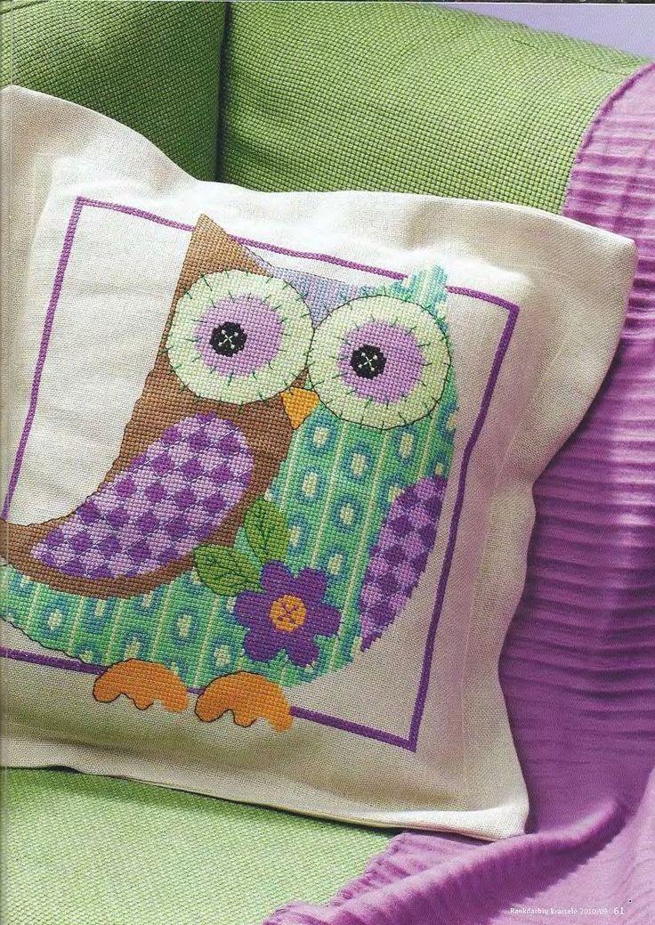 Подушка с совой - Вышивка