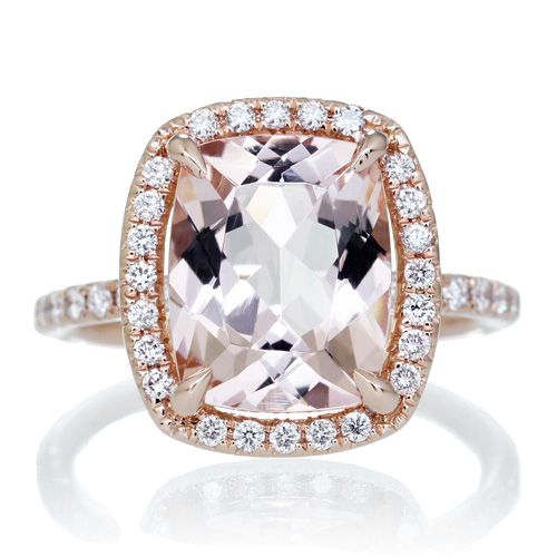 Morganite ring in 18k rose gold with 3 50 carat total weight This beautiful