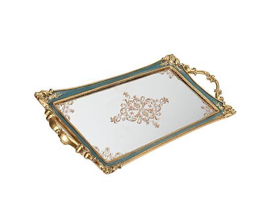 Зеркальный поднос - полистоун - золотой - Д51хШ24 см
