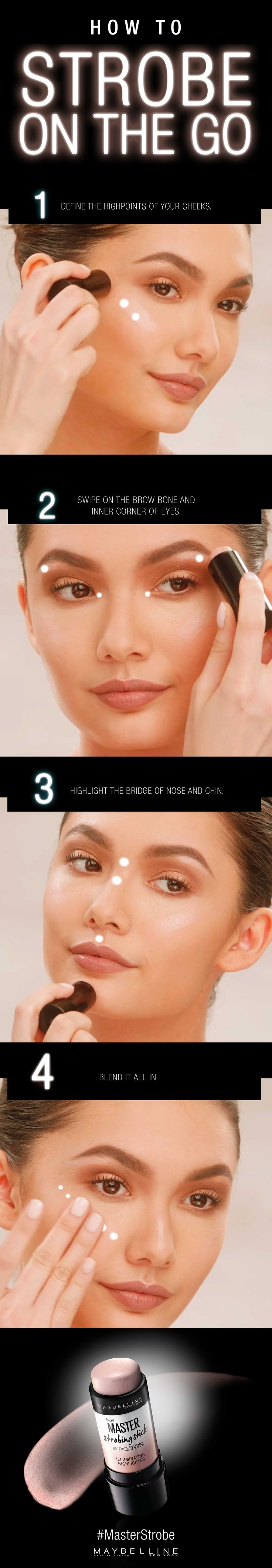 Maybelline Master Strobing Stick lights up your best features on the go. This step-by-step tutorial will show you how to make it happen. How To: Apply to high points of your face, blending with fingertips. The illuminating shimmer completes any makeup look. Bring a simple makeup look to the next level or go full glam by layering on the highlight. Get ready to flaunt effortless dimension and stunning radiance. Let's strobe to glow.