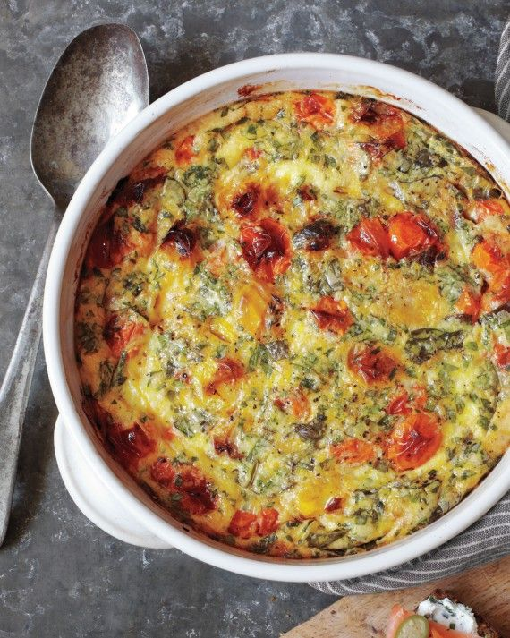 Think frittata meets souffle; this easy and elegant breakfast entree is made with eggs, fresh herbs, garlic, and cherry tomatoes. The secret to its delicious richness: coconut milk and Spanish Manchego cheese.