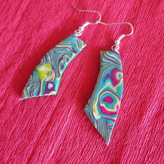 green polymer clay earrings polymer clay gift for her boho fashion style gifts by FloralFantasyDreams